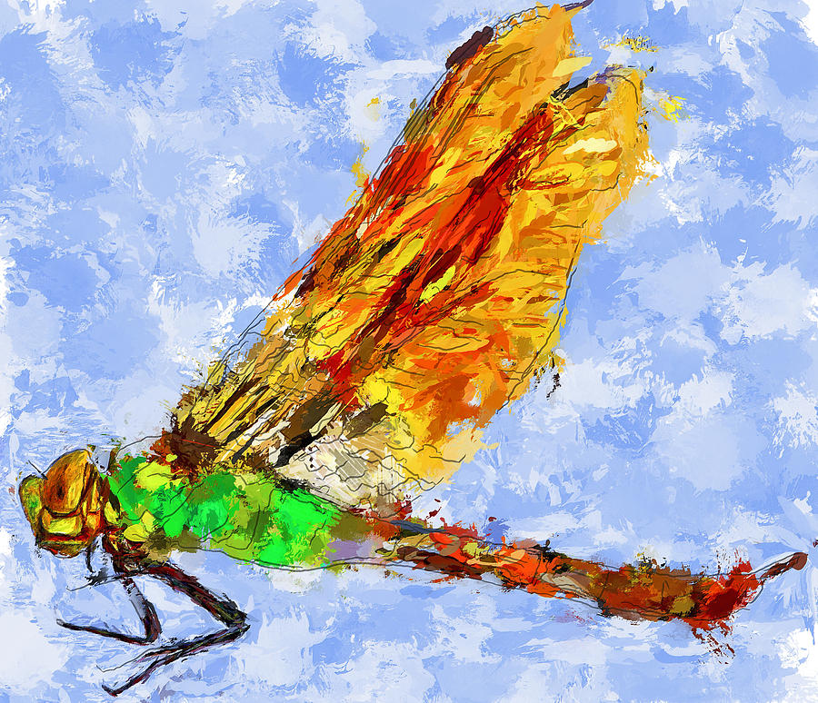 Dragonfly Digital Art - Dragonfly Thinking by Yury Malkov