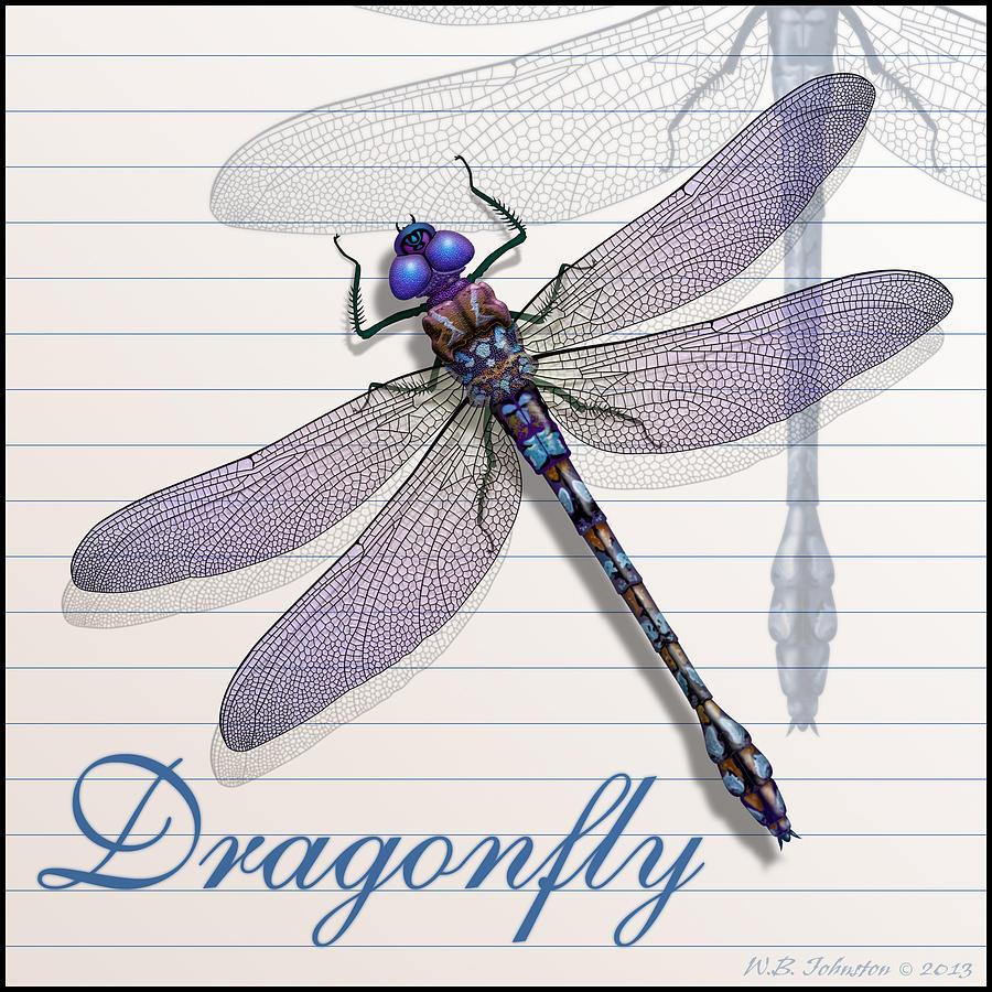 Dragonfly Digital Art - Dragonfly by WB Johnston