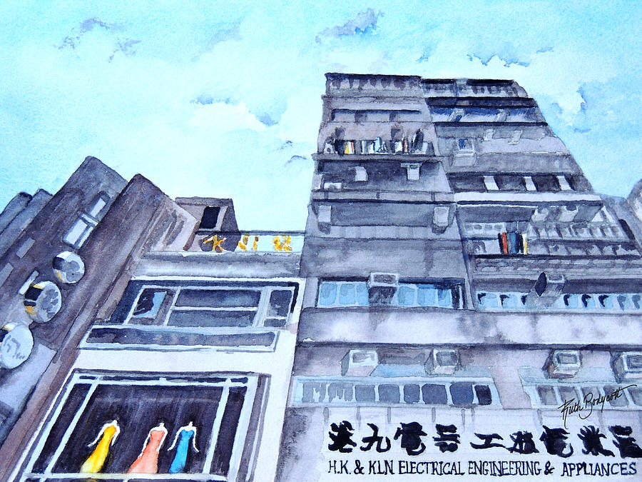 Cityscape Painting - Drama Above The Street Level Shops Hongkong by Ruth Bodycott