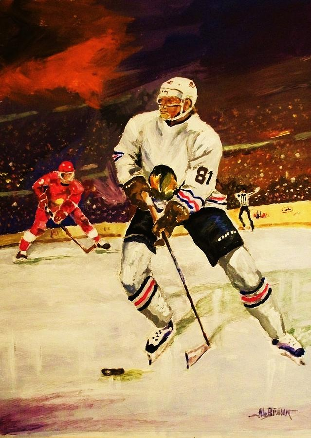 Hockey Painting - Drama On Ice by Al Brown