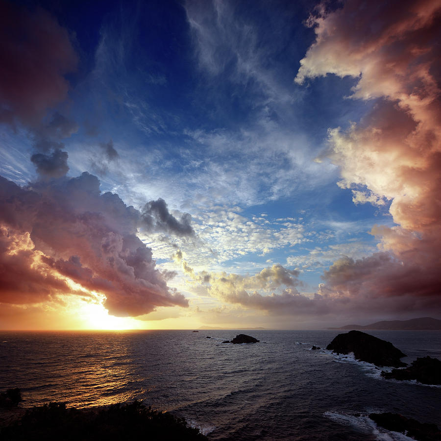 Dramatic Cloudscape Over Rocky Photograph by Akrp