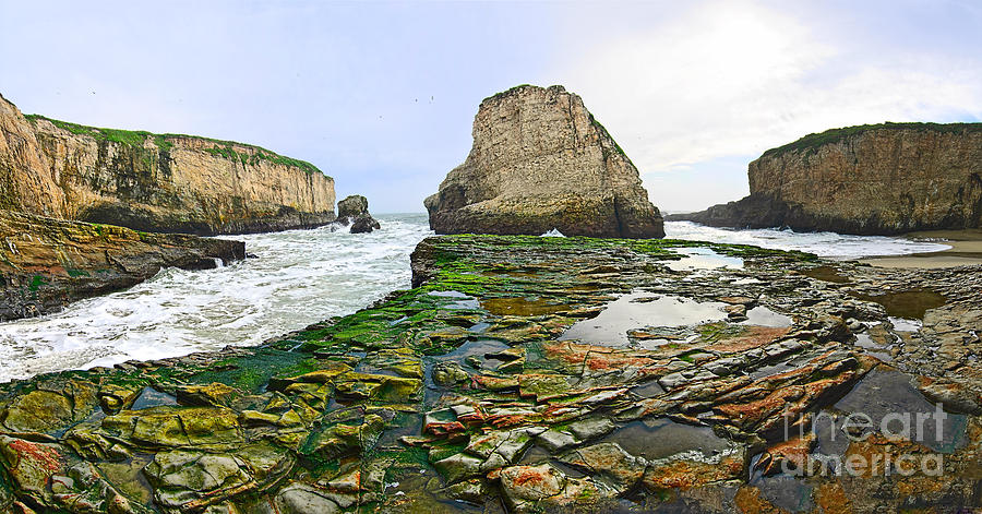 Dramatic Photograph - Dramatic Panoramic View Of Shark Fin Cove by Jamie Pham