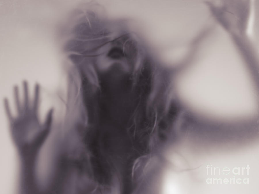 Woman Photograph - Dramatic photo of woman blurred silhouette behind hazy glass by Maxim Images Prints