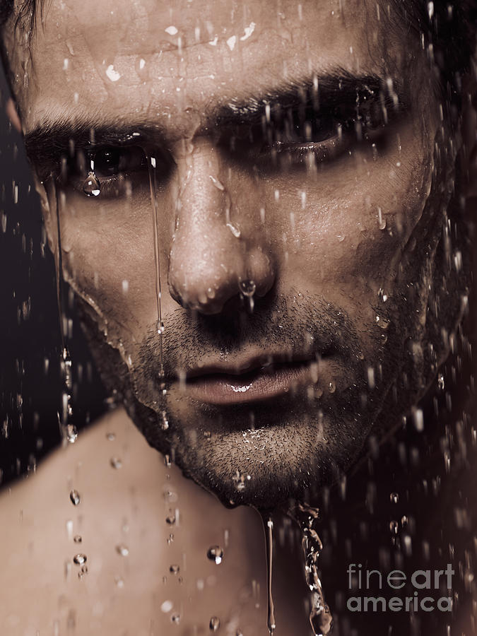 Man Photograph - Dramatic Portrait Of Man Face With Water Pouring Over It by Oleksiy Maksymenko