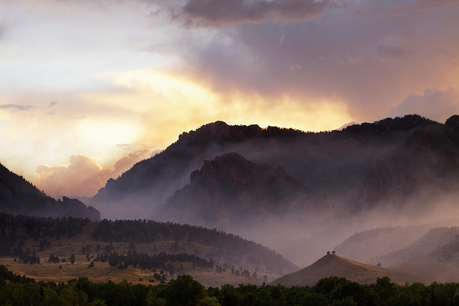 Dramatic Smoke And Fog Mountain Scene Photograph by Beklaus