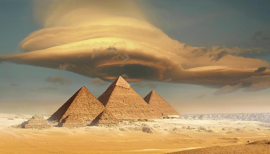 Dramatic Storm Cloud Above Pyramids Photograph by Jimpix