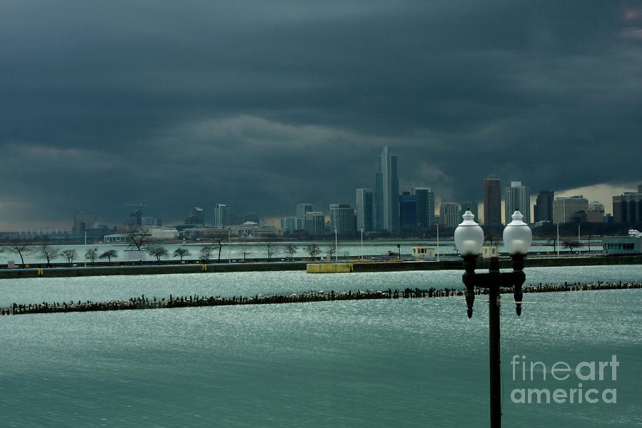 Navy Pier Photograph - Dramatic Thunderstorm Over Navy Pier Chicago by Linda Matlow