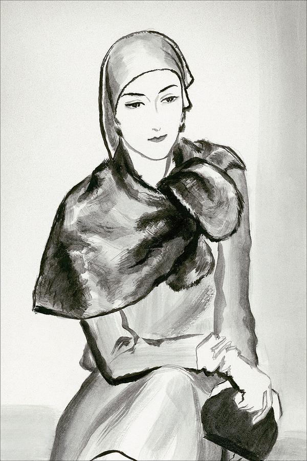 Drawing Of A Woman Wearing A Lucien Lelong Digital Art by Rene Bouet-Willaumez