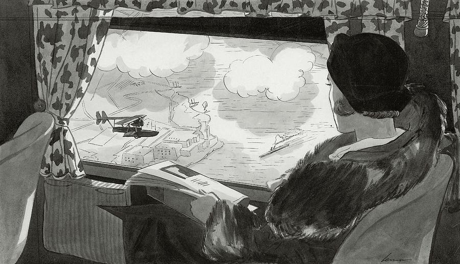 Drawing Of Female Passenger Flying Over Havana Digital Art by Lemon