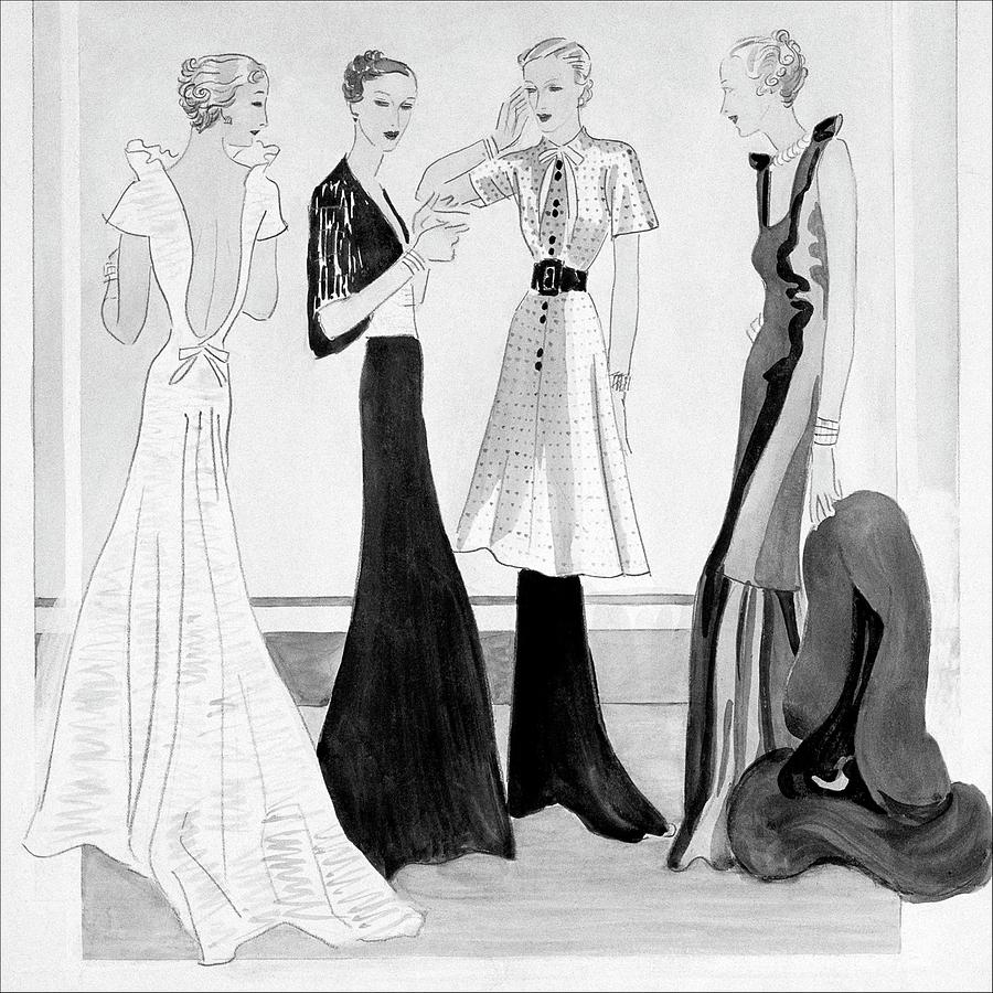 Drawing Of Four Well-dressed Women Digital Art by Eduardo Garcia Benito