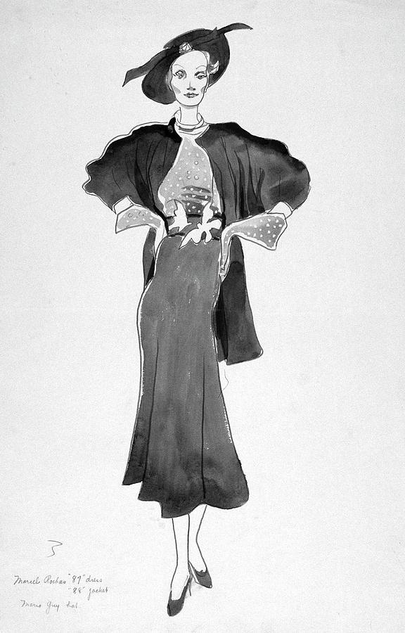 Drawing Of Model Wearing Marcel Rochas Dress Digital Art by Cecil Beaton