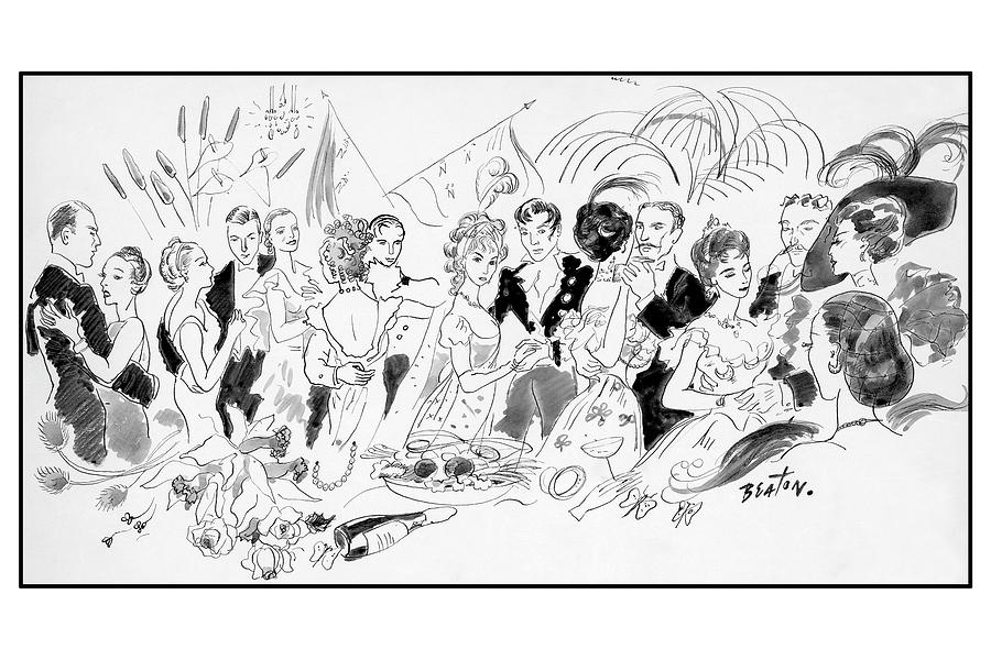 Drawing Of The London Society Dancing Night Away Digital Art by Cecil Beaton