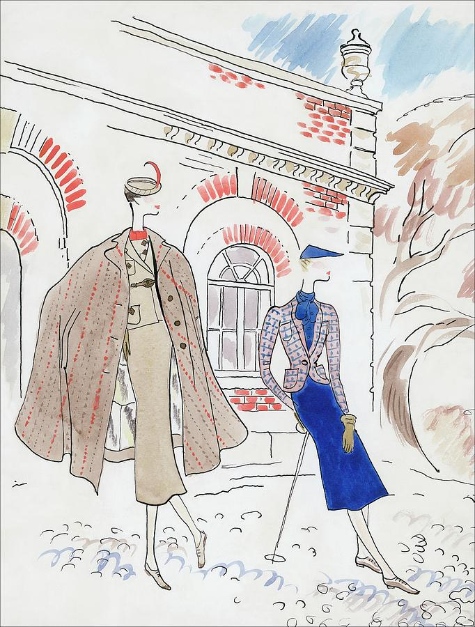 Drawing Of Two Women In Tweed Outfits Digital Art by Cecil Beaton