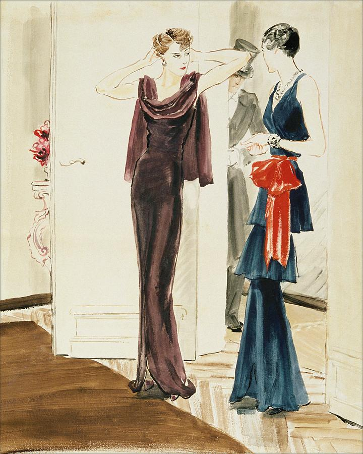 Drawing Of Two Women Wearing Mainbocher Dresses Digital Art by Rene Bouet-Willaumez