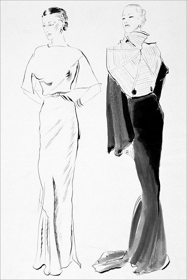 Drawing Of Women In Evening Wear Digital Art by Rene Bouet-Willaumez
