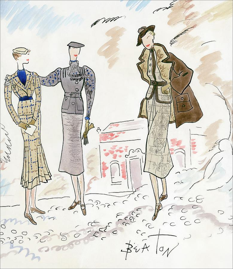 Drawing Of Women In Stylish Designer Outfits Digital Art by Cecil Beaton