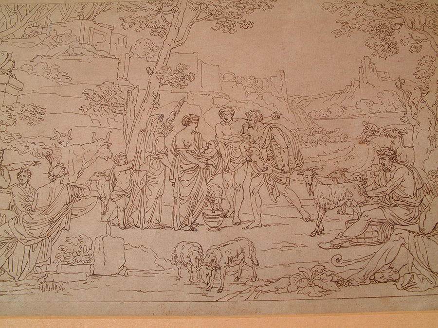 Nicholas Poussin Drawing - Drawing On Paper Representing An Arcadian Scene Inscribed Poussin  by Manner of Nicholas Poussin