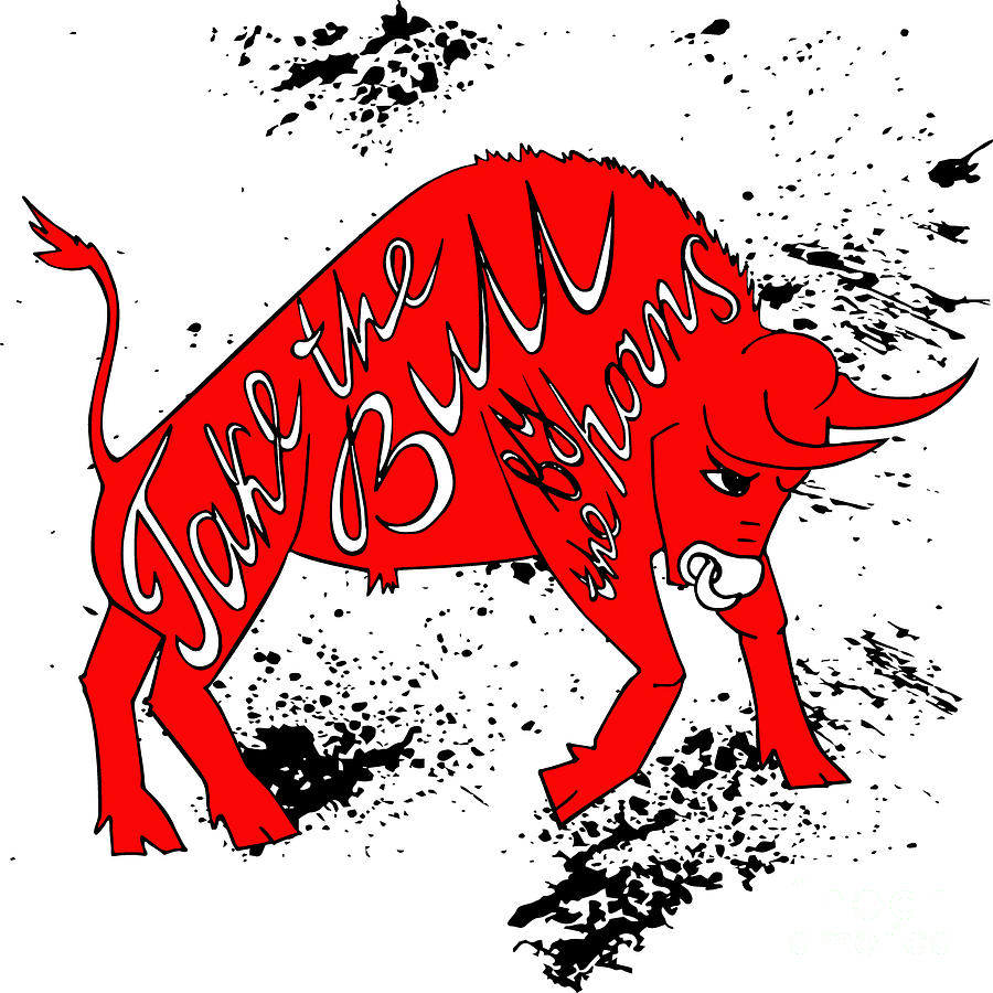 Symbol Digital Art - Drawing Red Angry Bull On The Grunge by Ana Babii