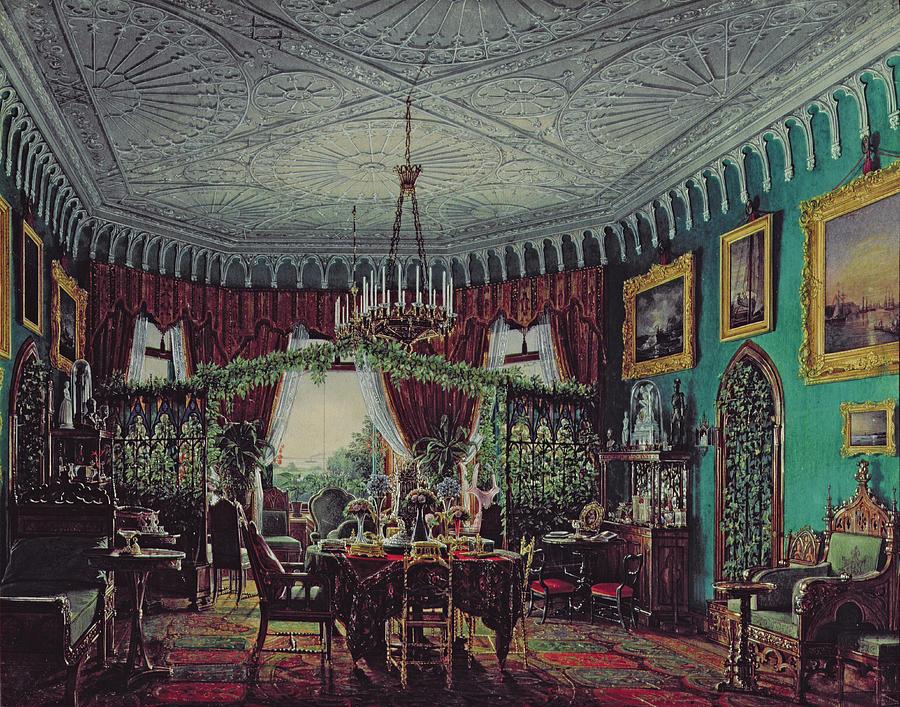 Trellis Drawing - Drawing Room Of Empress Alexandra Feodorovna by Eduard Hau