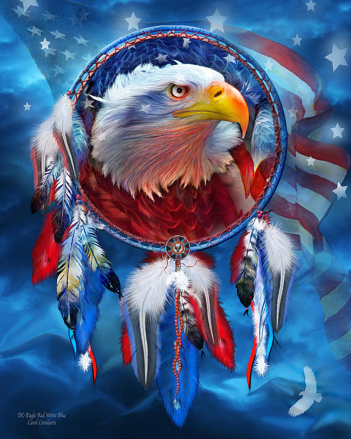 Dream Catcher Eagle Red White Blue Mixed Media By Carol