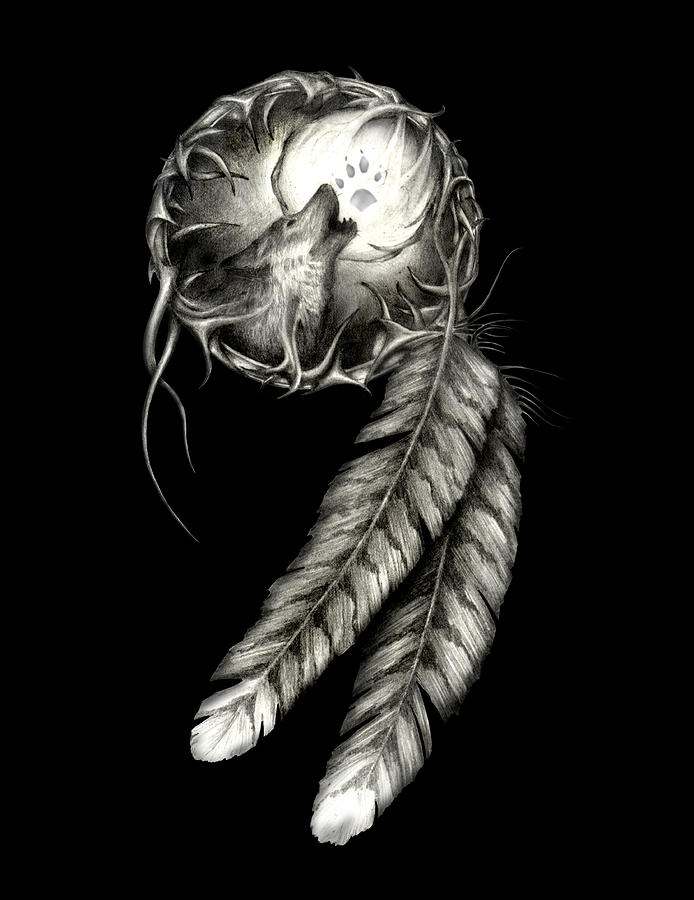 dreamcatcher wolves feathers white - photo #12