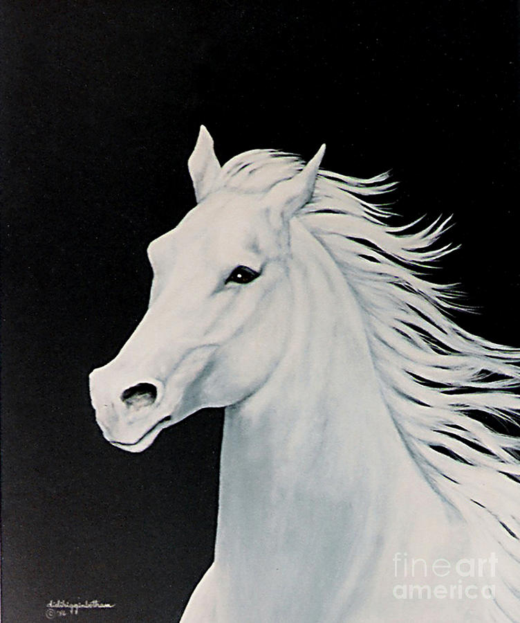White Horse Painting - Dream by DiDi Higginbotham