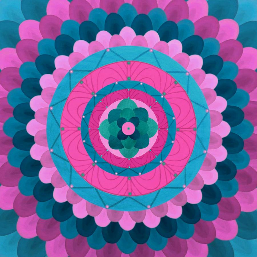 Dream Flower Mandala Painting by Vlatka Kelc