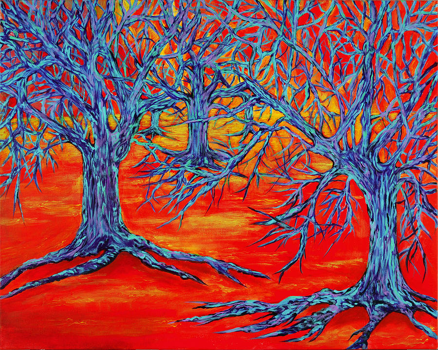 Red Painting - Dream Forest by RK Hammock