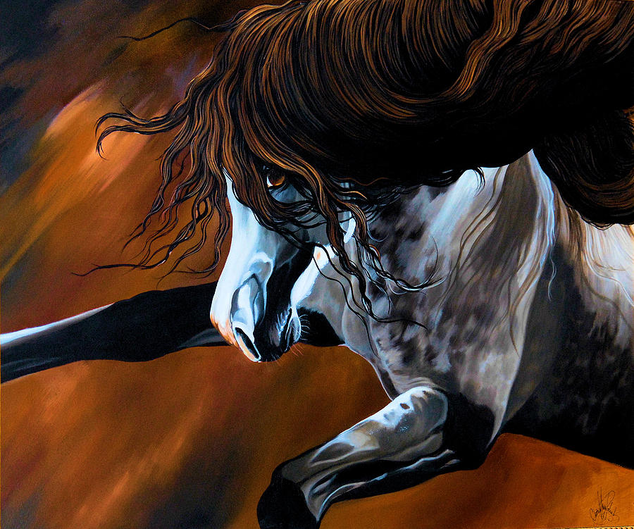 Painting Painting - Dream Horse Series 155 - Wild Mustang Pawing The Air by Cheryl Poland