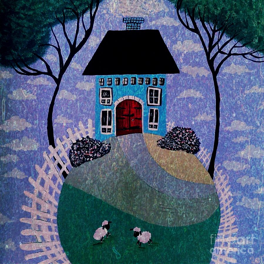 Folk Town Canvas Print Painting - Dream House by Denisse Del Mar Guevara
