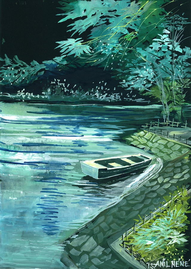 Lake Painting - Dream Lake by Anil Nene