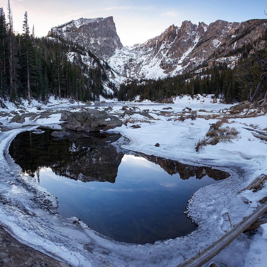 Colorado Photograph - Dream Lake Reflection Square Format by Aaron Spong