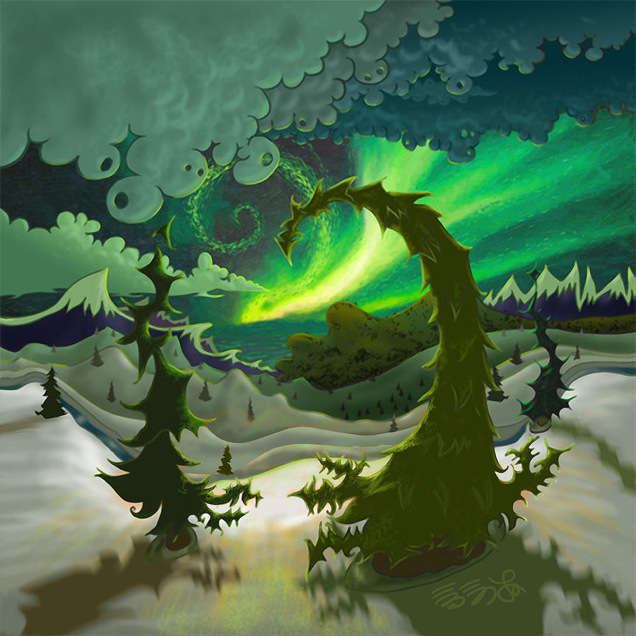 Aurora Painting - Dream Landscapes Aurora Green by Ebenlo - Painter Of Song