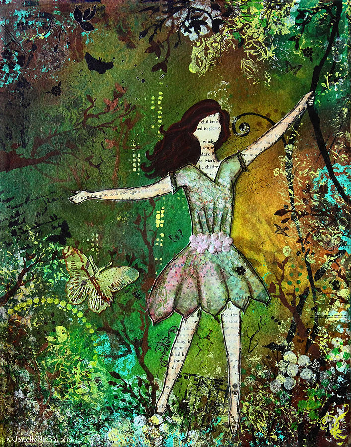 dream nature inspired mixed media folk art painting of