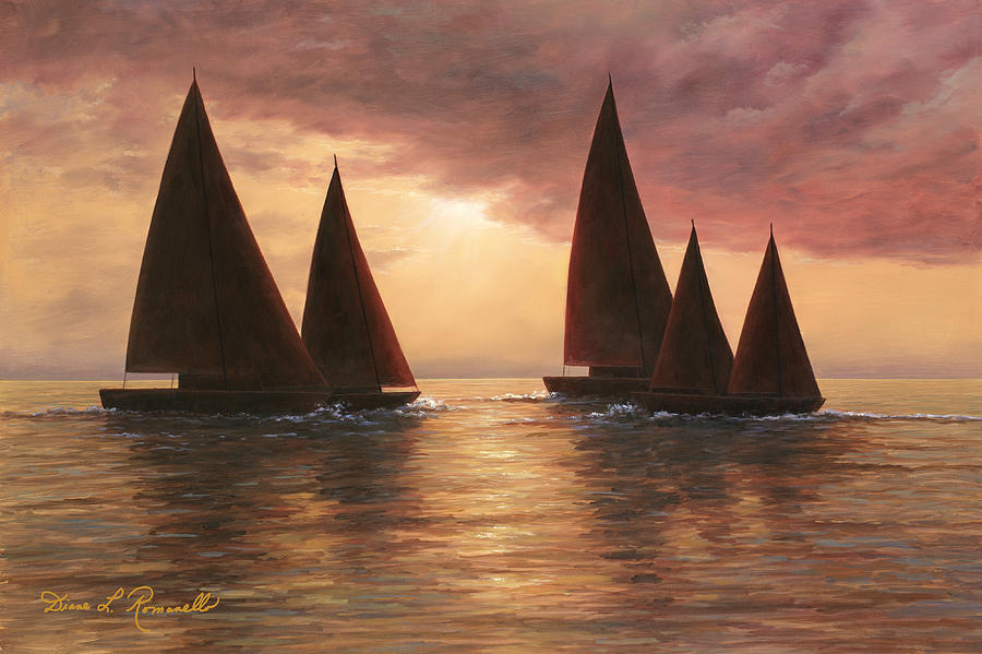 Sailboats Painting - Dream Sails by Diane Romanello