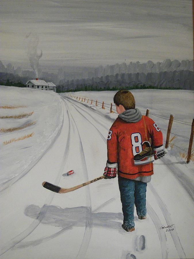 Hockey Painting - Dream Walking - Alex by Ron  Genest