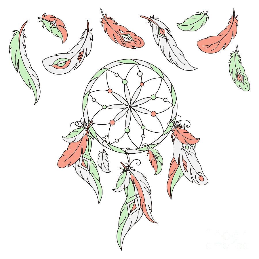 Magic Digital Art - Dreamcatcher, Feathers. Vector by Laata9