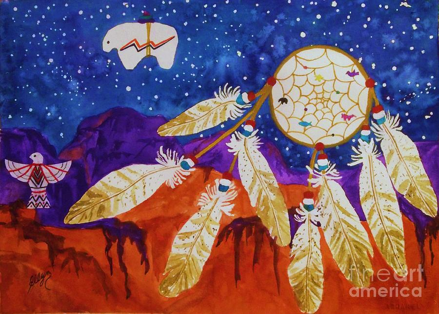 Dreamcatcher over the mesas painting by ellen levinson for Dream catcher spray painting