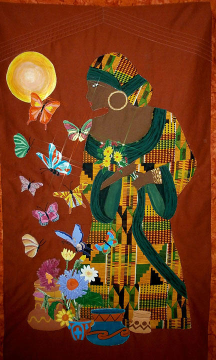 Quilts Tapestry - Textile - Dreaming Butterflies by Linda Egland