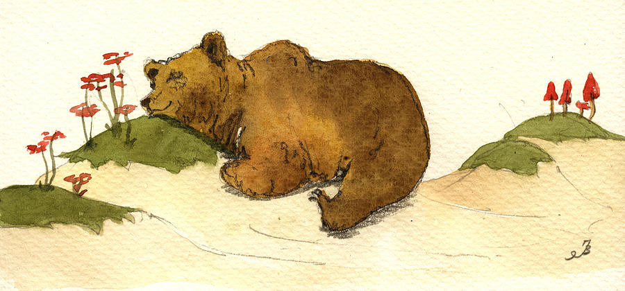 Sleeping Painting - Dreaming grizzly bear by Juan  Bosco
