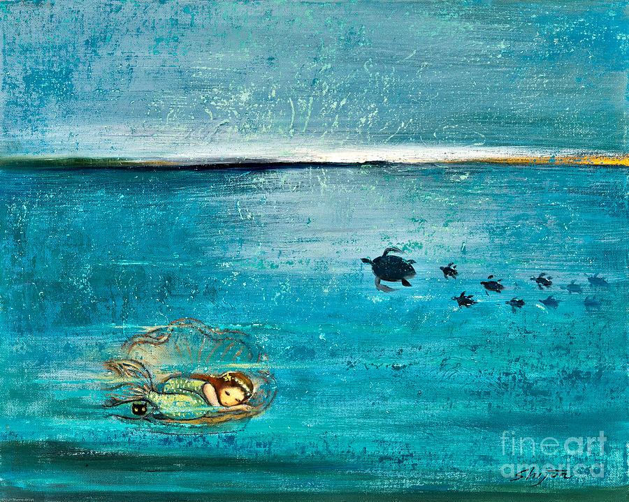 Turtle Painting - Dreaming Mermaid by Shijun Munns