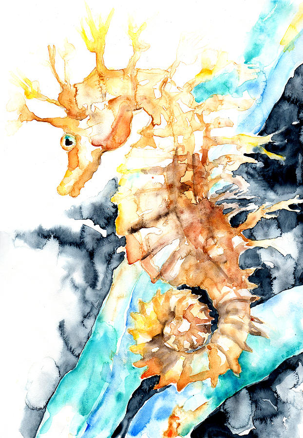 Barbara Pommerenke Painting - Dreaming Of A Seahorse  by Barbara Pommerenke