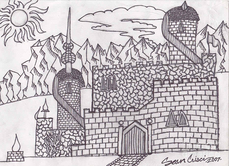 Castle Drawing - Dreaming by Sean Crisci