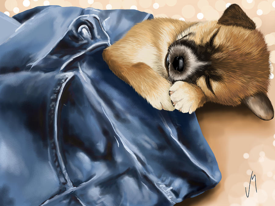 Dog Painting - Dreaming by Veronica Minozzi