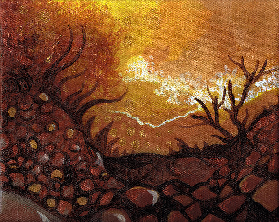 Trees Painting - Dreamscape In Fall Tones #4 Of 4 by Laura Noel