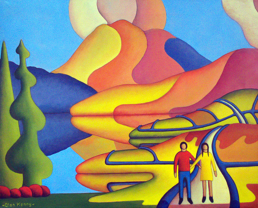 Dreamscape with lovers by lake  by Alan Kenny