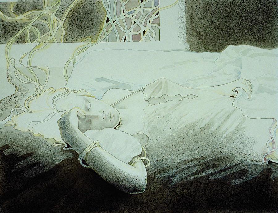 Sleeping Woman Drawing - Dreamweaving by Susan Helen Strok