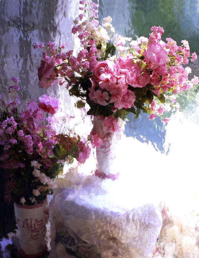 Pink Flowers Photograph - Dreamy Cottage Chic Impressionistic Flowers - Pink Roses Pink Vases by Kathy Fornal