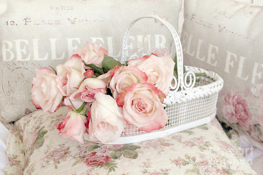 Dreamy Cottage Shabby Chic Pink Roses In White Basket