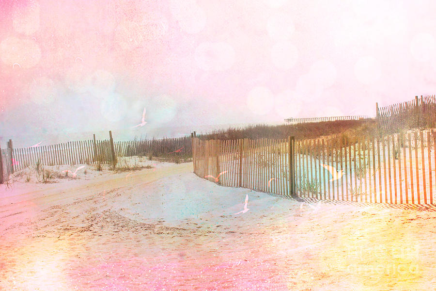 Dreamy Pink Beach Photograph - Dreamy Cottage Summer Beach Ocean Coastal Art by Kathy Fornal